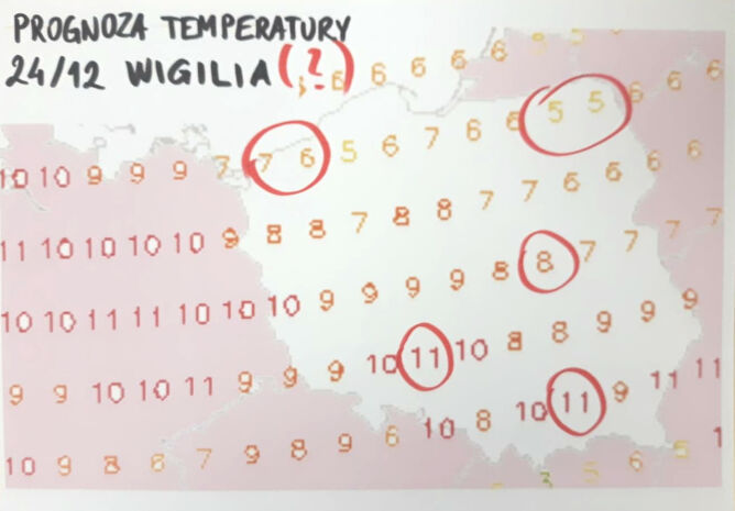 Wstępna prognoza pogody na Wigilię 2019