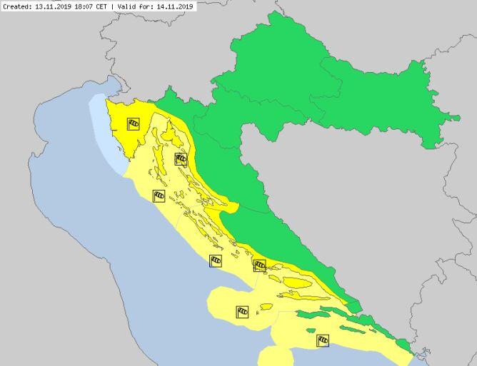 Ostrzeżenia dla Chorwacji na czwartek (meteoalarm.eu)
