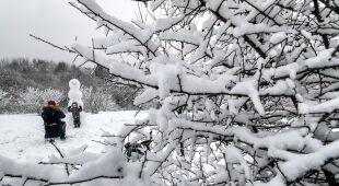 Śnieg w Moskwie (PAP/EPA/YURI KOCHETKOV)