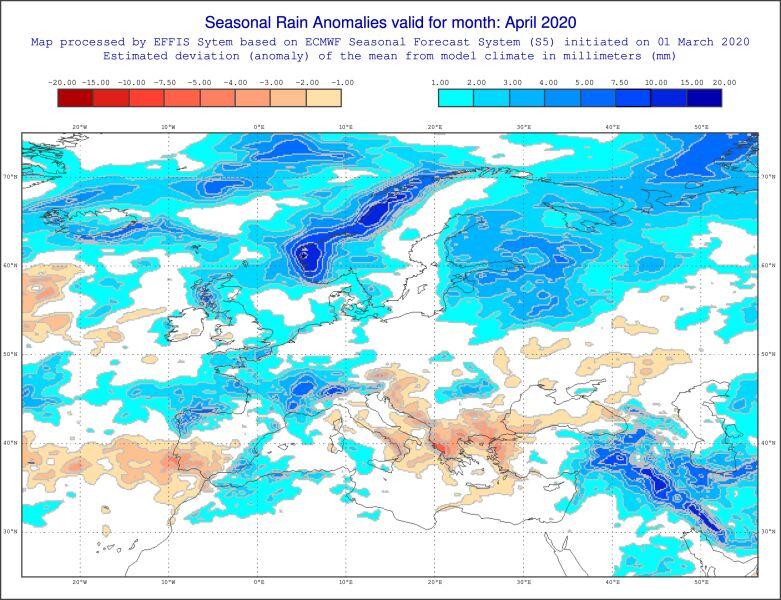 Prognozowane odchylenie miesięcznej sumy opadów w kwietniu 2020 od normy wieloletniej (ECMWF)
